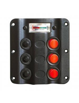 Pannello WAVE DESIGN con 3 interruttori a bascula con LED + VOLTOMETRO mm 110 x 100