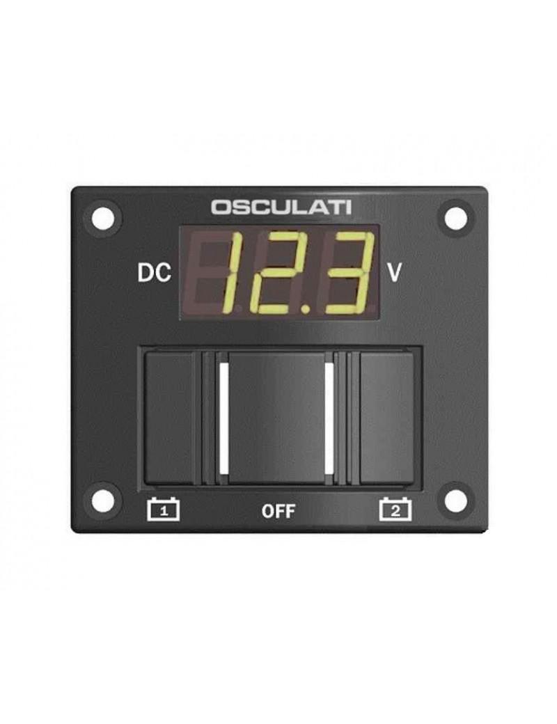 Pannello test digitale per 2 batterie con interruttore per azionarlo mm 75 x 60