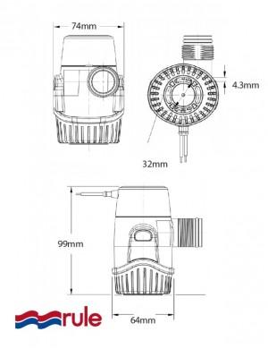 Pompa di sentina Rule 500-25DA 12V