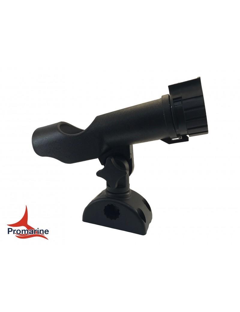 Porta canne in plastica con base mm 10 x 5 e staffa da battagliola 25 mm inclusa