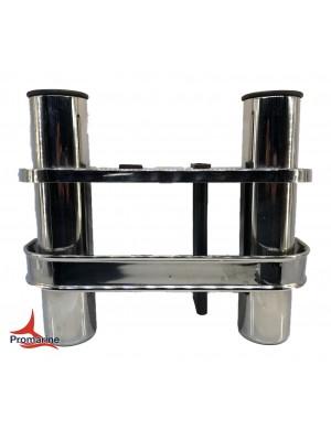 Porta canne a parete in acciaio INOX 2 posti con inserto coltello e pinza mm 275