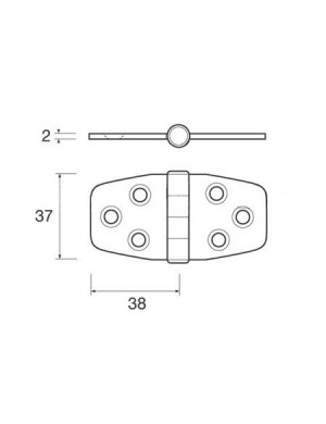 Cerniera a biscotto in acciaio INOX perno centrale mm 76 x 44