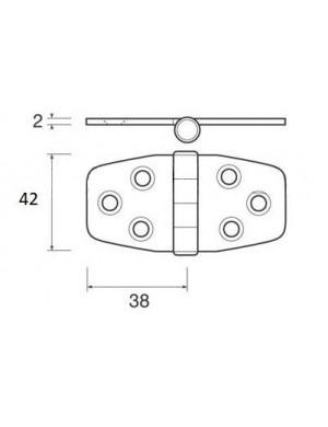 Cerniera a biscotto in acciaio INOX perno inferiore mm 76 x 44