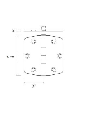 Cerniera a biscotto in acciaio INOX perno superiore mm 60 x 37