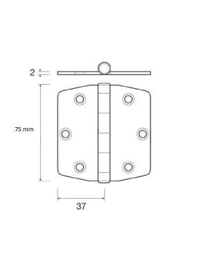 Cerniera a biscotto in acciaio INOX perno superiore mm 75 x 37