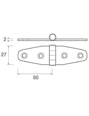 Cerniera Wing S in acciaio INOX perno superiore mm 50 x 27