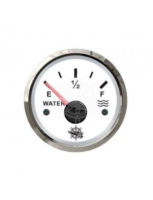 Indicatore livello acqua quadrante BIANCO e cornice INOX segnale-impedenza 240-33/10-180 O mm 57 x 51