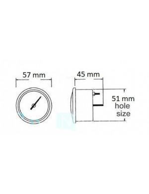 Indicatore temperatura acqua quadrante BIANCO e cornice INOX mm 57 x 51