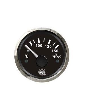 Indicatore temperatura olio quadrante NERO e cornice INOX mm 57 x 51
