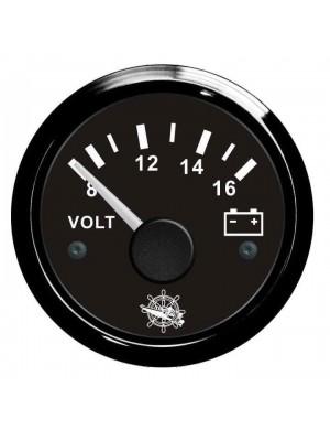 Voltometro cornice e quadrante NERO scala 8/16 Volt mm 57 x 51