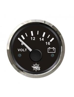 Voltometro quadrante NERO e cornice INOX scala 8/16 Volt mm 57 x 51