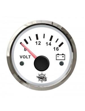 Voltometro quadrante BIANCO e cornice INOX scala 8/16 Volt mm 57 x 51