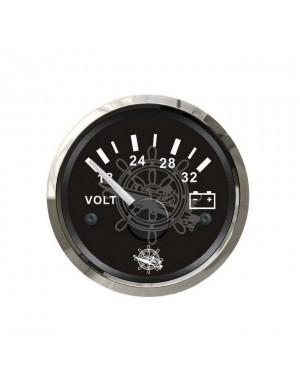 Voltometro quadrante NERO e cornice INOX scala 18/32 Volt mm 57 x 51