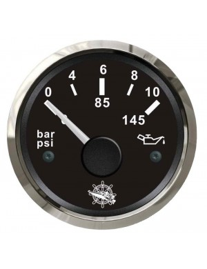 Indicatore pressione olio mm 57 x 51 - Nero/Inox