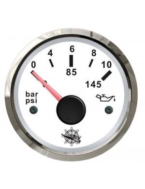 Indicatore pressione olio mm 57 x 51 - Bianco/Inox