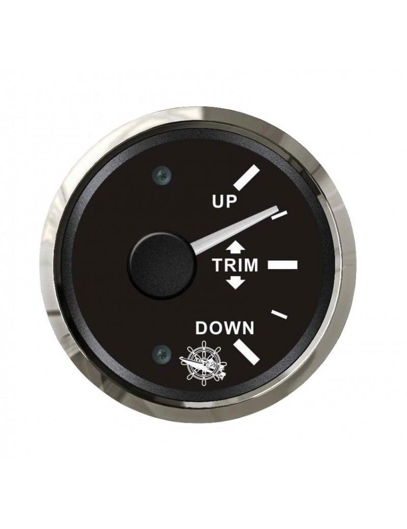 Indicatore TRIM quadrante NERO e cornice INOX segnale-impedenza 0-190 O mm 57 x 51