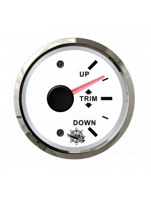 Indicatore TRIM quadrante BIANCO e cornice INOX segnale-impedenza 0-190 O mm 57 x 51