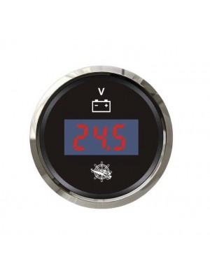 Voltometro DIGITALE quadrante NERO e cornice INOX scala 8/32 Volt mm 57 x 51