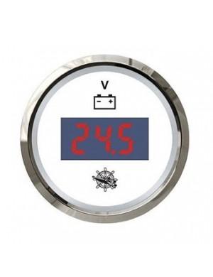 Voltometro DIGITALE quadrante BIANCO e cornice INOX scala 8/32 Volt mm 57 x 51