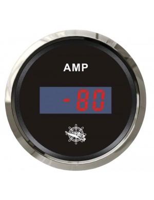 Amperometro DIGITALE quadrante NERO e cornice INOX scala ampere -80 +80 A mm 57 x 51