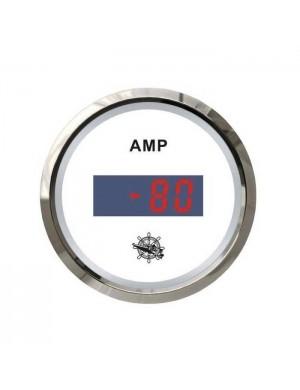 Amperometro DIGITALE quadrante BIANCO e cornice INOX scala ampere -80 +80 A mm 57 x 51