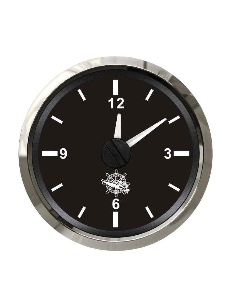 Orologio quadrante NERO e cornice INOX mm 57 x 51