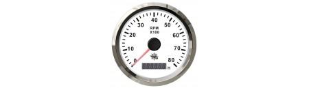 Contagiri elettronico universale con contaore quadrante BIANCO e cornice INOX mm 96 x 85