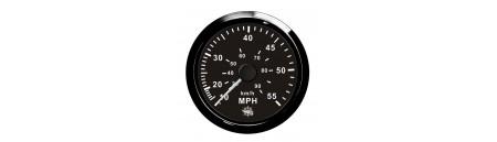 Spidometro da tubo di Pitot (a pressione d'acqua) quadrante e cornice NERO mm 96 x 85