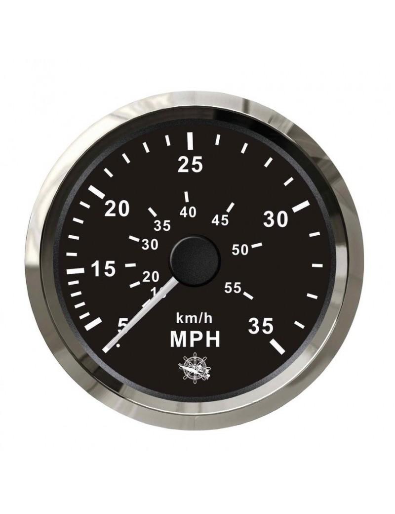 Spidometro con tubo di Pilot (a pressione d'acqua) quadrante NERO e cornice INOX mm 96 x