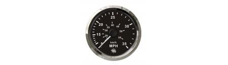 Spidometro con tubo di Pilot (a pressione d'acqua) quadrante NERO e cornice INOX mm 96 x 85