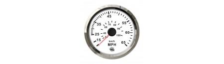 Spidometro con tubo di Pilot (a pressione d'acqua) quadrante BIANCO e cornice INOX mm 96 x 85
