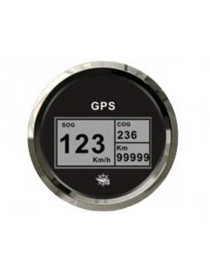 Spidometro / contamiglia GPS senza trasduttore quadrante NERO e cornice INOX mm 96 x 85