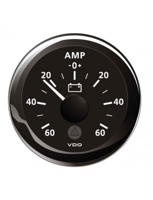 Amperometro VDO View-Line mm 52 ghiera NERA scala ampere -60 +60A