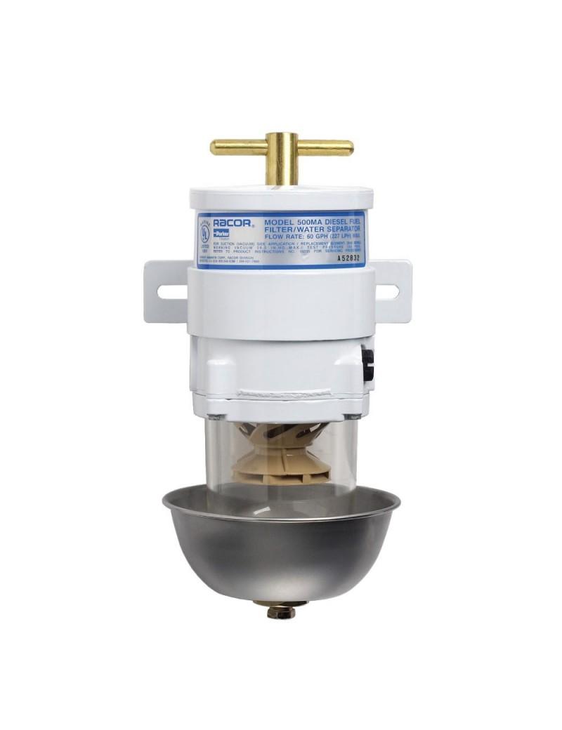 Filtro gasolio RACOR MARINE 500 MA completo di coppa inox e cartuccia filtrante