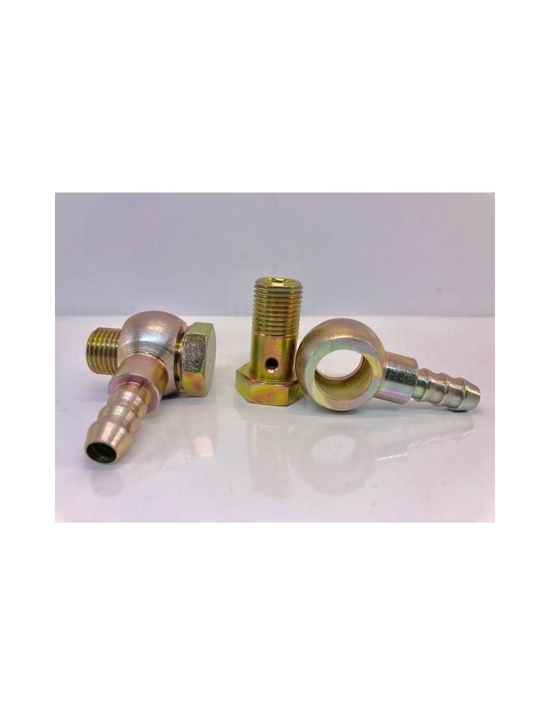 Coppia raccordi girevoli da 3/8'' + 2 portagomma da 10 mm + 4 guarnizioni rame
