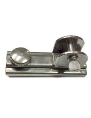 Cursore in acciaio INOX con fermo a vite e cavallotto ad U da montare su rotaia INOX