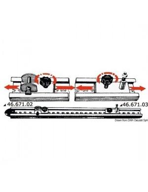 Cursore in acciaio INOX con fermo a vite con perno da montare su rotaia INOX (posizionata