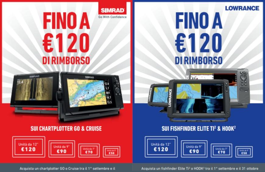 Ottieni un rimborso fino a 120€ con l'acquisto di un chartplotter Lowrance o Simrad